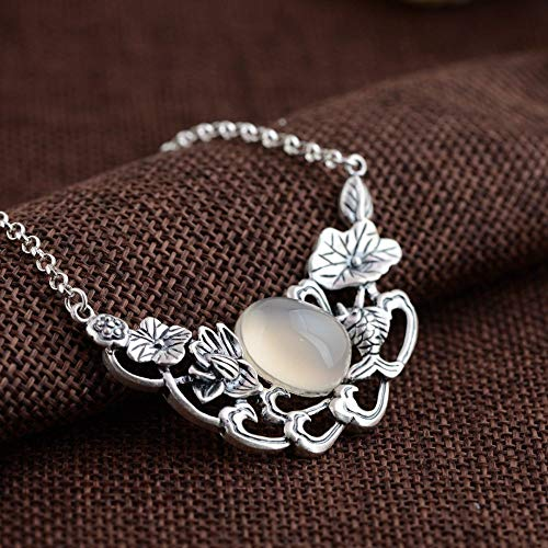 Handmade Pendant Necklaces For Women,European Elegant Lotus Flower Leaf White Chalcedony Pendant 925 Sterling Silver Jewelry For Ladies Girls Weddings Proms Birthday Party Other Special Occasions Gi
