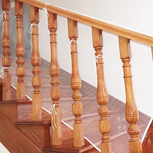 Red de Escaleras de Seguridad para Niños, 3m/10 Pie Red de Seguridad para Barandillas de Escaleras, Red de Seguridad para Balcón con Cuerda y Hebilla de Plástico (Blanco)