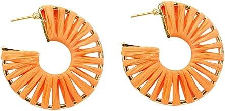 Amosfun 1 paar bast-oorbellen geometrische creolen Boheemse oorringen voor meisjes