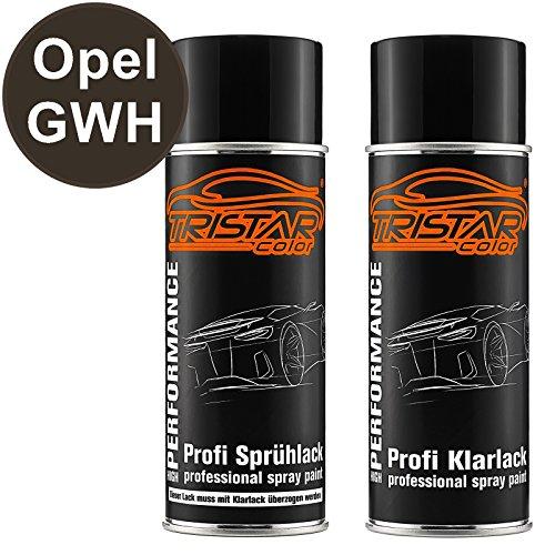 TRISTARcolor Autolack Spraydosen Set für Opel GWH Platin Anthrazit Perl Metallic Basislack Klarlack Sprühdose 400ml
