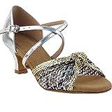 Women's Ballroom Dance Shoes Salsa Latin Practice Dance Shoes Gold & Silver Braid S92309EB Comfortable - Very Fine 2' Heel 8.5 M US [Bundle of 5]