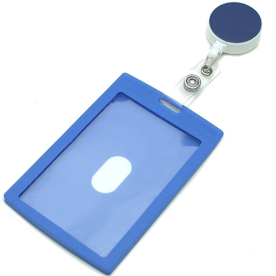 クラシカルおもてなし合金HERBE パスケース ICカード ハードケース リール付 定期入れ メンズ レディース PP樹脂製 プラスチック 縦型 ブルー