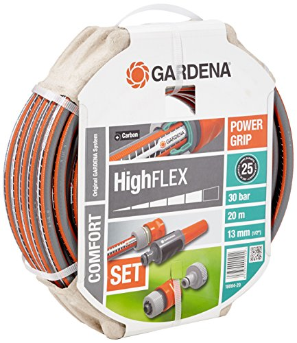 Gardena 18064-20 - Manguera de Agua highflex Comodidad 1/2 de Pulgada, 20m con Las Partes del Sistema, marrón
