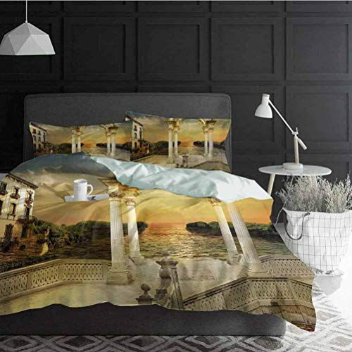 Duvet Cover Set Quilt cover Fantasy Ultra Soft, Breathable and Durable Surreal Bridge Gateway with Ornaments Enchanted Woods Fairytale Land Decorative 3 Piece Bedding Set with 2 Pillow Shams King Size