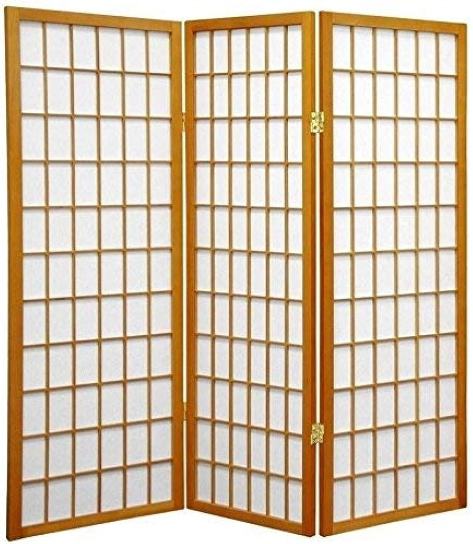 Oriental Furniture Small Low Office Height, 4-Feet Short Window Pane Shoji Floor Screen Room Divider, 3 Panel Honey