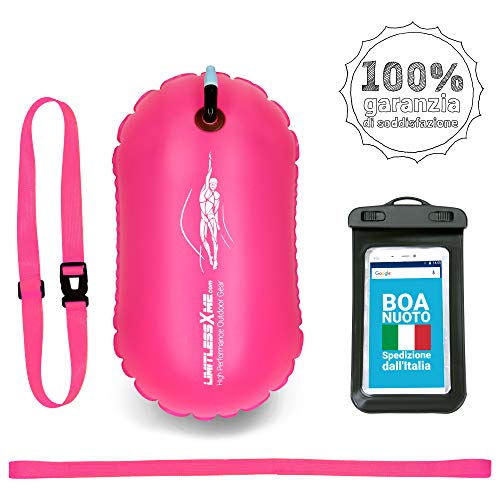 LimitlessXme Boa Gonfiabile per Nuoto Rosa e Custodia per Il Cellulare – Sicurezza Durante Il Nuoto, in acque libere e per Il Triathlon. Boa Galleggiante, Swim Buoy Bubble