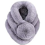 Bufanda de piel sintética Bufandas de piel sintética Cuello de invierno Cuello cálido Bufanda con bola suave para mujer (gris)