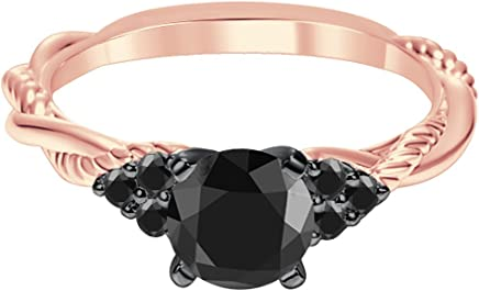 Silvernshine Jewels Twisted 7 Stones Engagement Ring Round Lab Created Diamond in 18ct Rose Gold Plated