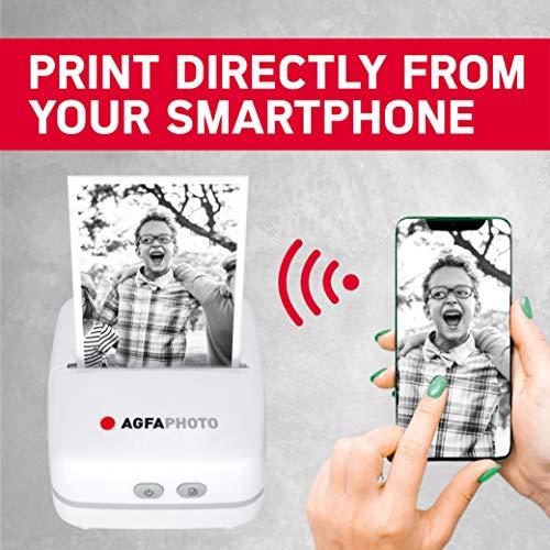 AGFA PHOTO Realipix Pocket P – Imprimante Photo Thermique Portable (Impression Noir et Blanc sans Encre, Bluetooth, Batterie Lithium) Blanc