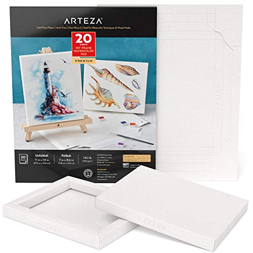 Arteza Watercolor Art Paper Foldable Canvas Pad, 7x8.6 Inches, 20 Sheets, DIY Frame, Heavyweight Paper Pad, 140 lb, 300 GSM, Acid-Free, Wood Pulp Pad for Painting & Mixed Media Art