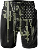 Gun American Flag Men Swim Trunks Drawstring Short Beach Pants for Men Swim Trunks Short Bathing Suits Board Shorts with Pockets