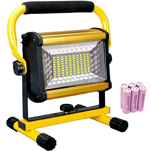 100W LED Außen-Flutlichtstrahler, Akku Baustrahler für Innen- und Außenbereich, 8000 LM / IP65 (wasserfest), Arbeitsleuchte Tragbar, LED-Strahler mit 3 Dimmstufen, Standgestell & Tragegriff,Floodlight