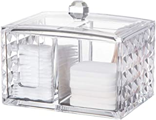 Lurrose Acrylic Cosmetics Storage Cotton Pad Swab Container with Lid Jewelry Storage Box Christmas