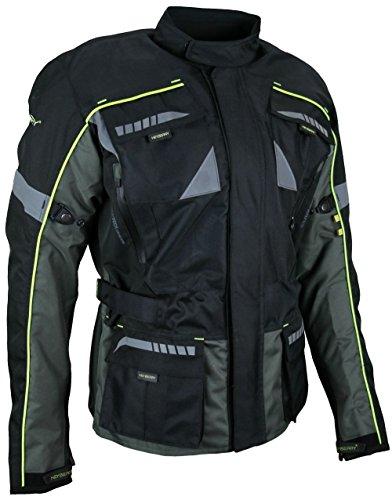 HEYBERRY Enduro Motorradjacke Textil schwarz grau neon Gr. M