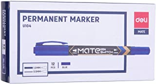 Deli EU10430 Twin Felt Tip Permanent Marker, Blue