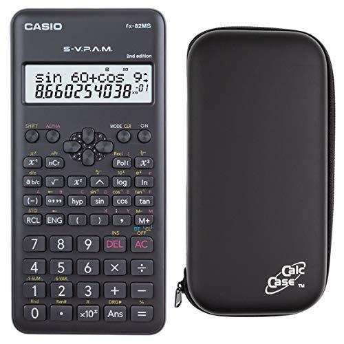 Casio Taschenrechner FX-82 MS 2nd + kompatible Schutztasche CalcCase Tiny Tischrechner - wissenschaftlicher Schulrechner Nicht programmierbar elektronisches Display für Schule Batterie 240 Funktionen