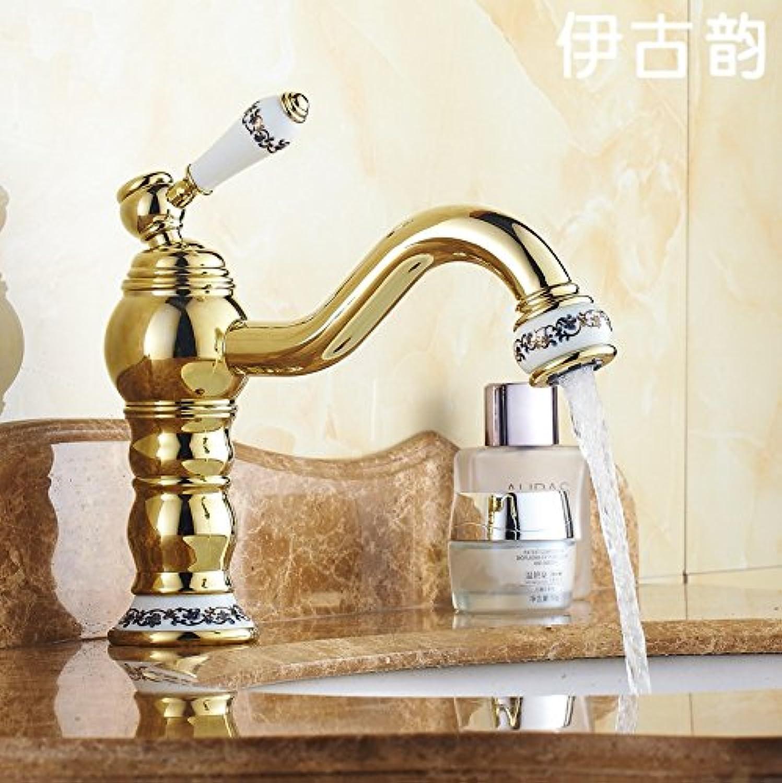 Caribou@Waschtischarmatur Wasserhahn Spültisch Küche Waschtisch Waschenbecken Bad Europischen Kupfer Gold-single-Loch Toilette Wasserhahn warm   kalt