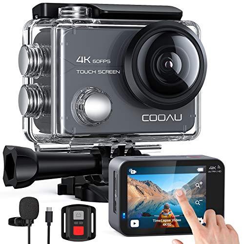 COOAU Cámara Deportiva 4K 60FPS 20MP Wi-Fi(pantalla táctil con zoom 8X Nuevo EIS Anti-Shake, Estuche impermeable para cámara subacuática de 40 m, Micrófono externo ajustable, 2x1350mAh Baterías)