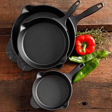 The Pioneer Woman Timeless Cast Iron 3-Piece Set, 6 , 8  and 10  Cast Iron, Pre-Seasoned