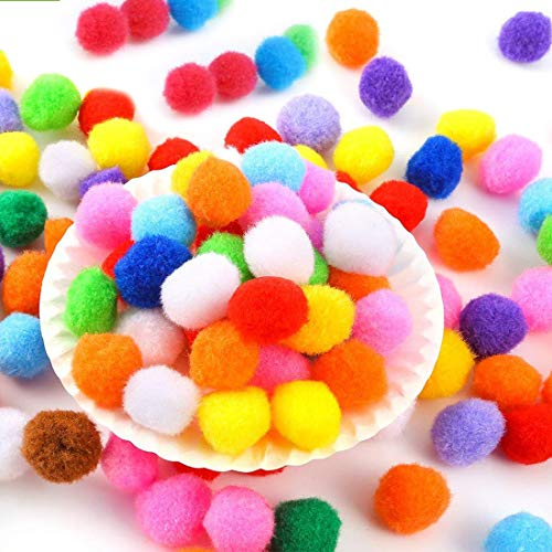 300pcs Pompones, Pompones Manualidades, Colored Round Pompon bola fieltro, Pipe Cleaners Crafts Set, para Bricolaje de Artesanía y Material de Afición, 2.5 cm/1Pulgada, 8 colores