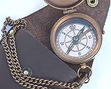 NEOVIVID Brújula para grabar, brújula de bolsillo, brújula de latón con funda de transporte de cuero, brújula de Boy Scout, brújula de piratas, brújula de camping, brújula de regalo