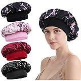 Satin Sleep Cap - 4 Pieces Women Hair Bonnet Elastic Wide Band Hat Night Hat Hair Loss Cap For Salon Sleep Spa