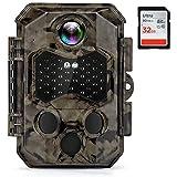 COOLIFE Fotocamera Caccia 32MP 4K con Visione Notturna Fino a 20m, Trigger 0,2s, Fototrappola Impermeabile IP66 con Scheda SD da 32GB per La Caccia, il Giardino e il Monitoraggio della Sicurezza