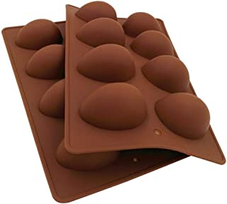 Echodo Egg Shape Soap Mold Non Stick Silicone Half Egg Mold for Soap Making, Truffles Chocolate, Candy, Jelly, Desserts, Ice Tray Backing Set Cake Mould 2 Packs