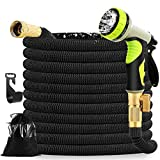 Mahoon Expandable Garden Hose 100ft - Water hose with 9 Function Spray Nozzle - 3/4'' Solid Brass Fittings and 4-Layers Latex - Superior Strength 3750D No-Kink Flexible Lightweight Expanding Hose Pipe