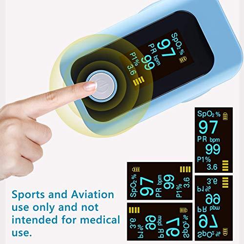 51fa5m150PL - Oxímetro de pulso, oxímetro de dedo profesional con pantalla OLED, utilizado para medir SpO2 y PI y PR, lecturas precisas y confiables en tiempo real (azul)