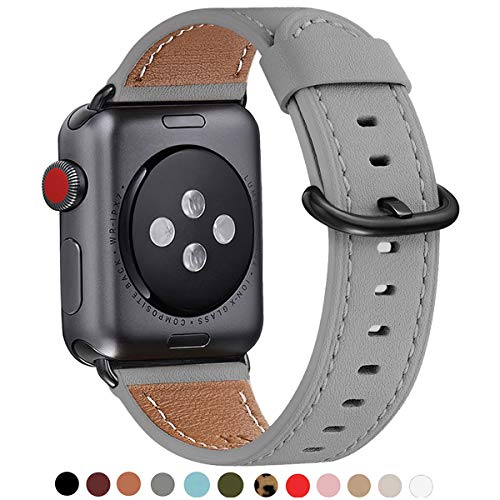WFEAGL Correa para Correa Apple Watch 42mm 44mm 38mm 40mm, Correa de Repuesto de Cuero Multicolor para iWatch Serie 5/4/3/2/1(42mm 44mm,Gris/Negro)