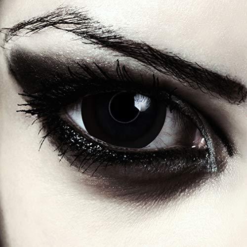 "Designlenses, mini sclera lentillas de colores negro totalmente para Halloween zombie costume 17mm sin dioprtías/corregir + gratis caso de lente ""Black Giant"