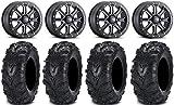 Bundle - 9 Items: ITP Inertia Bdlk 14' Wheels Bk +40mm 28' MudLite II Tires [4x156 Bolt Pattern 10mmx1.25 Lug Kit]