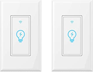 Smart Wifi Light Switch - 2 Pack, with Timer Compatible with Alexa Phone APP Remote Multi-person Control No Hub Required, Echo Google Assistant iOS Android Smart Light Switch
