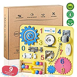 Busy Board for Toddlers – Sensory Board – Wooden Busy Board for Kids – Activity Board for Toddlers 1-3 – Locks and Latches Activity Board – Baby Activity Board – Toddler Educational Toys