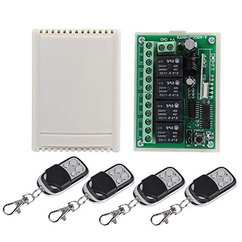 Multifunktionale 4-Wege-Fernbedienung Switch Kit, 4 Stück Garagentor-Fernbedienung Switch Wireless Relay Switch Receiver Ersatz, Türsteuerung liefert