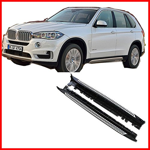 One Pair of Running Boards | Foot Side Steps for BMW 2014-2018 X5 (F15) – OE Style + Aircraft Grade Aluminum (Aluminum Polished Silver)