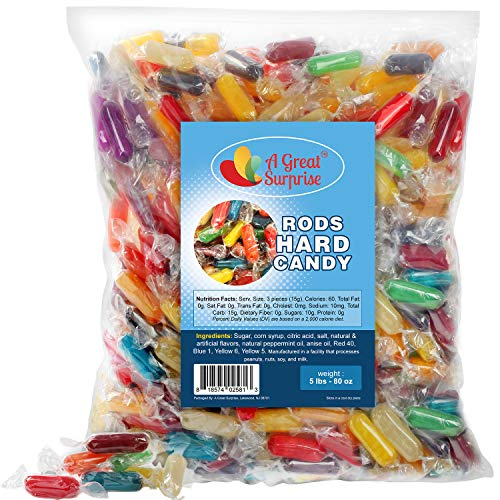 A Great Surprise Assorted Rods Hard Candy - 5 Pound Bag - Bulk Individually Wrapped Candy - Fruit Flavored Candies