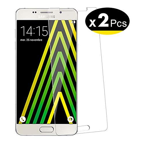 NEW'C PanzerglasFolie Schutzfolie für Samsung Galaxy A5 2016, [2 Stück] Frei von Kratzern Fingabdrücken und Öl, 9H Härte, HD Displayschutzfolie, Displayschutzfolie Samsung A5 2016