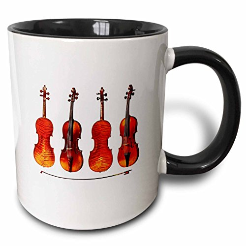 "3dRose mug_62210_4""The Great Stradivarius Violins"" Two Tone Black Mug, 11 oz, Multicolor"