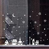 Ruluti 1pc NoëL DéCoration De NoëL VITRINE DéCoration Stickers Muraux Snowflakes NoëL Ville