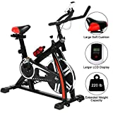 Indoor Cycling Bike Stationary - Silent Belt Drive Exercise Bike with Flywheel & Pulse Sensor, Exercise Spin Bike with Adjustable Resistance/Handlebar and LCD Monitor for Home Workout