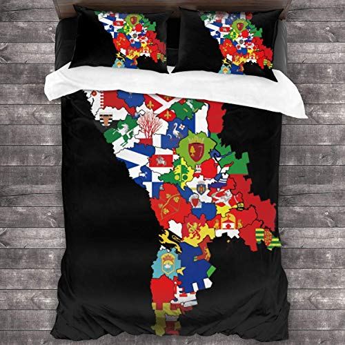 shenguang Flag Map of Moldova - Juego de Ropa de Cama de 3 Piezas, edredón para Todas Las Estaciones con 2 Fundas de Almohada, Colcha Suave con Cremallera, sin edredón de 86 'x 70'