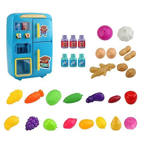 shanghui Kinder Rollenspiel Spielhaus Spielzeug Simulation Doppelkühlschrank Verkaufsautomat Spielzeug Kinder Küche Essen Spielzeug Mini Spielhaus Mädchen Spielzeug