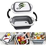 Collapsible Cutting Board with Colander and Lid,Multi-function folding washing bowl Draining Basket, Fruits Vegetables Wash and Drain Sink Storage Basket