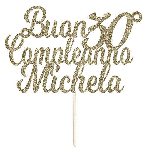 Nome 30 ° Compleanno Personalizzato Topper Di Torta Di Carta Glitter Cake Topper Di Compleanno Di Scintillio Di Buon Compleanno
