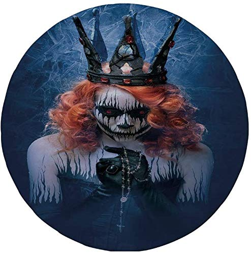 Alfombrilla de ratón Redonda de Goma Antideslizante Reina Reina de la Muerte Arte de Cuerpo Aterrador Halloween Cara Malvada Zombi de Maquillaje extraño Azul Marino Naranja Negro 7.9