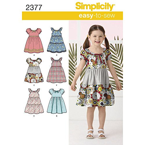 Simplicity Learn To Sew Patterned Girl's Dress Sewing Pattern Template, Sizes 3-8