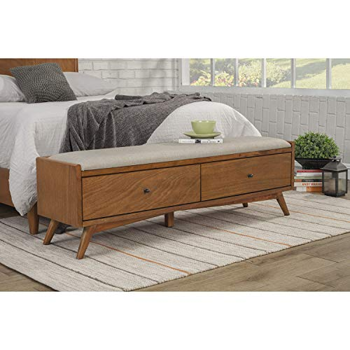 Alpine Furniture Flynn Mid Century Bench, 59 W x 15 D x 18.5 H, Acorn