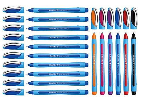 Schneider Slider Memo XB - Lote de 10 bolígrafos (10 + 6 unidades, color azul + surtido)
